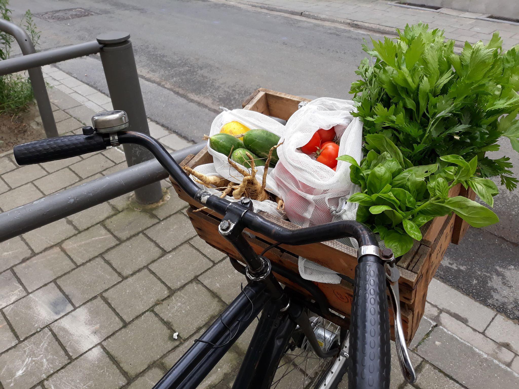 Wekelijkse mand groenten op de fiets